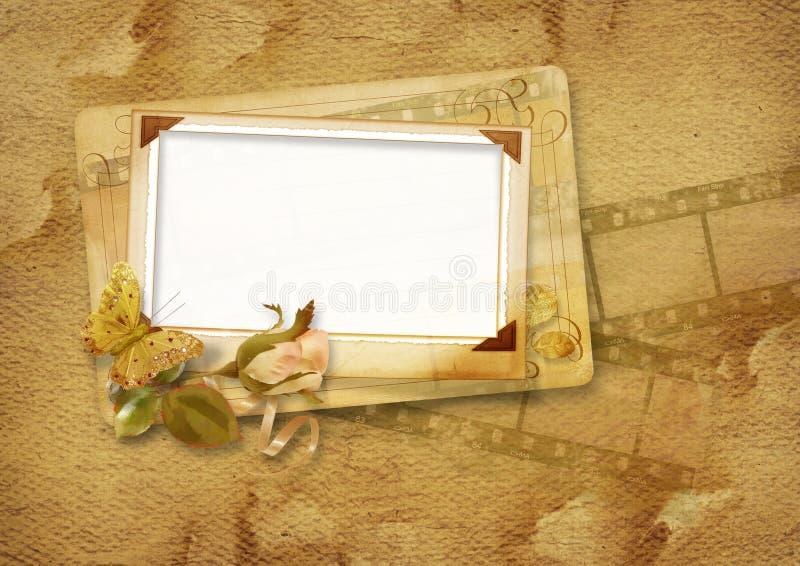 O frame do vintage com filmstrip e levantou-se ilustração royalty free