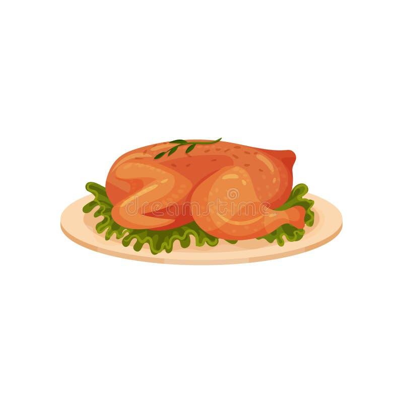 O frango frito serviu com folhas da alface em uma placa, ilustração saboroso do vetor do prato das aves domésticas em um fundo br ilustração royalty free