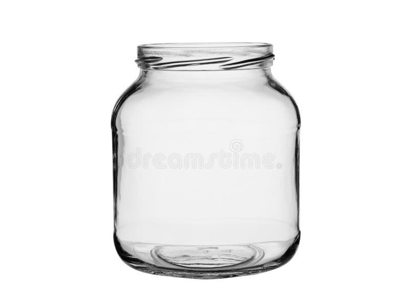 O frasco aberto vazio do vidro transparente Isolado em um fundo branco foto de stock