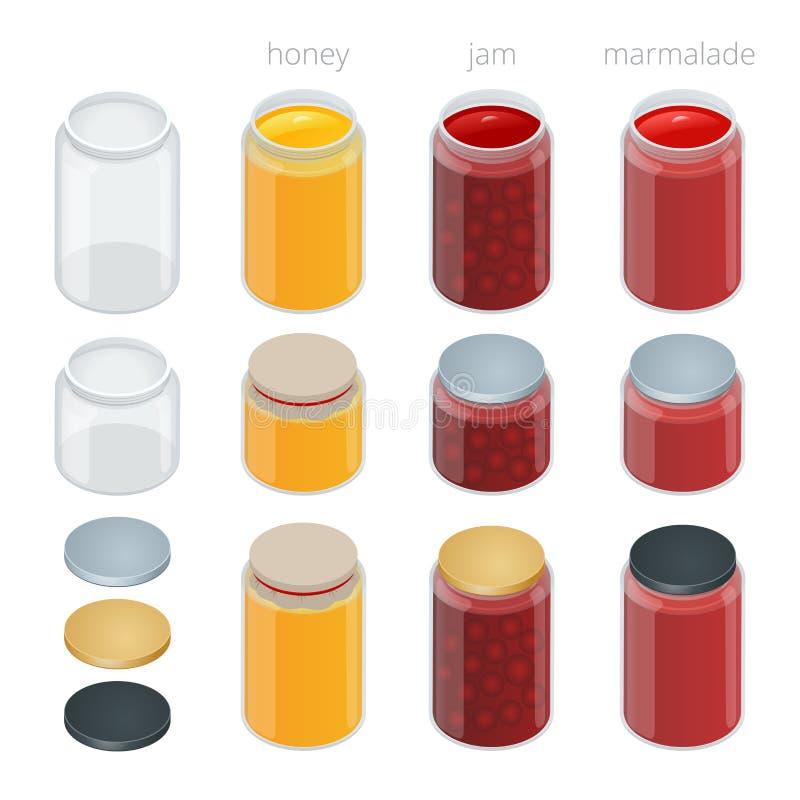 O frasco de vidro com com doce, configura ou mel Ilustração isométrica lisa do vetor 3d ilustração stock