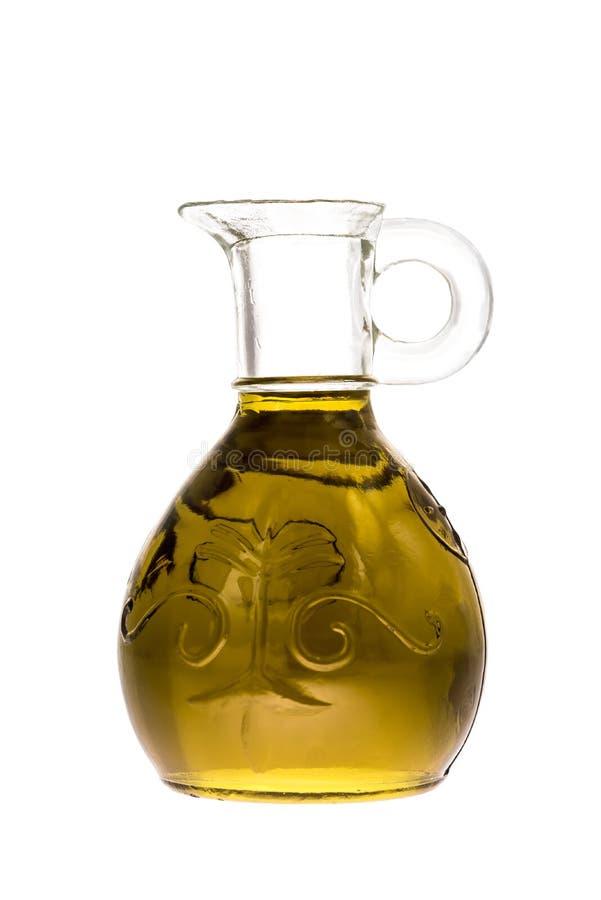 O frasco de vidro do azeite virgem extra isolou-se imagem de stock
