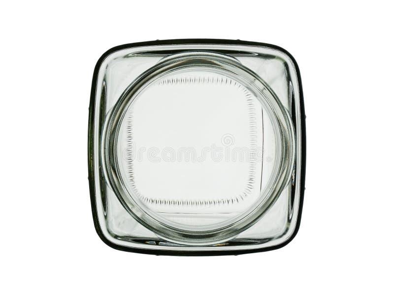 O frasco de vidro vazio esquadrado isolado em um fundo branco Vista superior imagem de stock royalty free