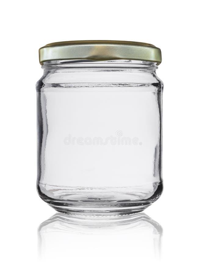 O frasco de vidro vazio fechou-se por uma tampa do metal com a reflexão, isolada em um fundo branco fotografia de stock