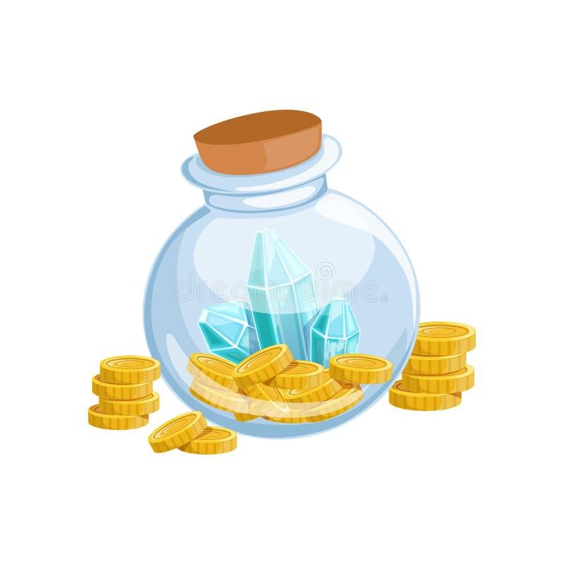 O frasco do vidro selado com moedas douradas e Crystal Gems azul, tesouro escondido e riquezas para a recompensa no flash veio pr ilustração royalty free