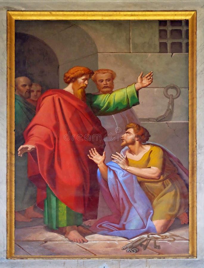 O fresco com a imagem da vida de St Paul: Conversão da guarda prisional foto de stock royalty free
