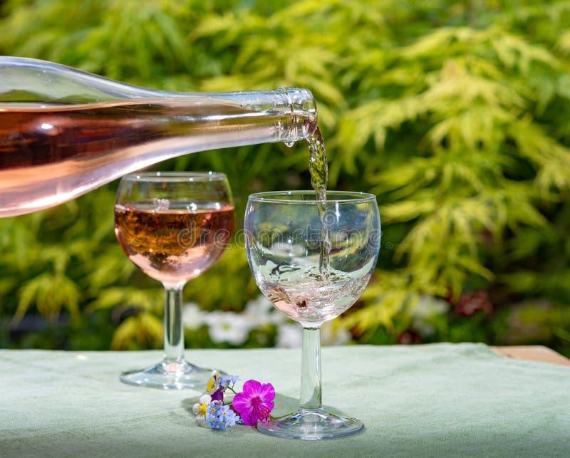 O frio de derramamento do gar?om aumentou vinho nos vidros no dia ensolarado do ver?o no jardim de floresc?ncia foto de stock royalty free