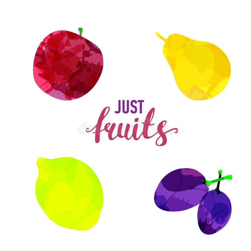 O fruto ajustou manchas e manchas tiradas da aquarela com uma ma?? do pulverizador, lim?o, pera, ameixa Frutos naturais isolados  ilustração stock