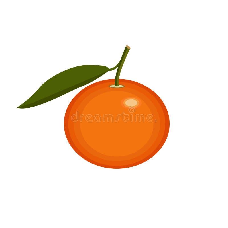O fruto alaranjado da tangerina com licença verde, ícone no conceito isolado do fundo para fazendeiros introduz no mercado o alim ilustração do vetor