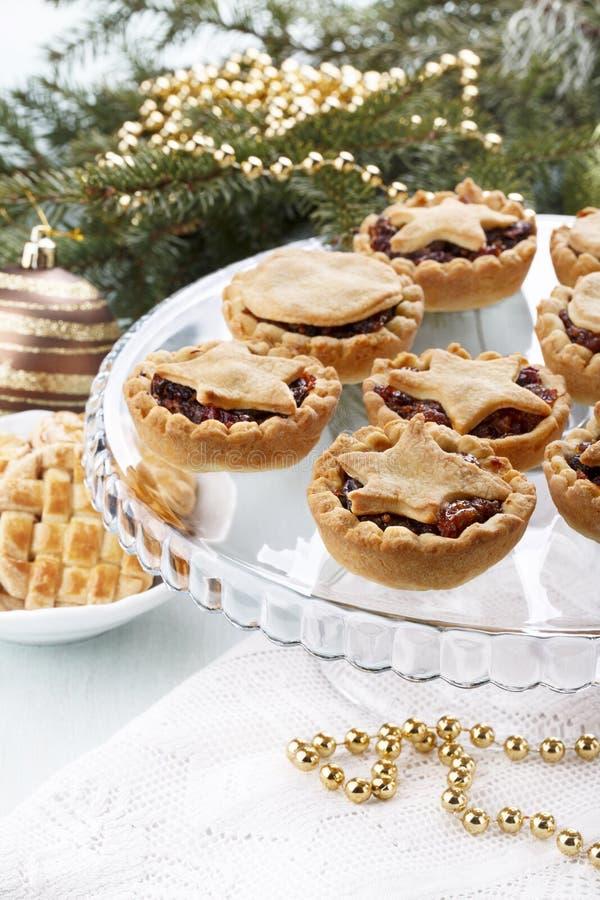 O fruto caseiro tradicional tritura tortas na decoração do Natal fotografia de stock royalty free