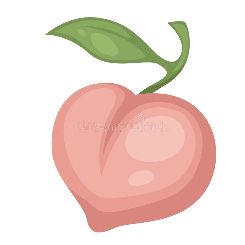 O fruto do pêssego isolou o produto natural do vegetariano do alimento do ícone ilustração stock