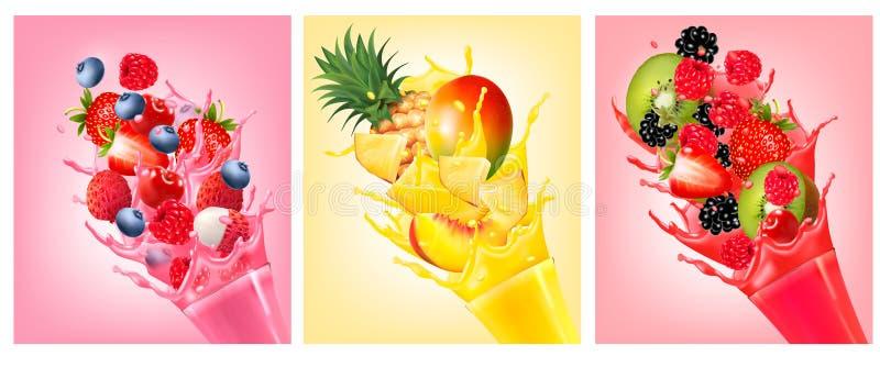 O fruto no suco espirra Morango, goiaba ilustração stock