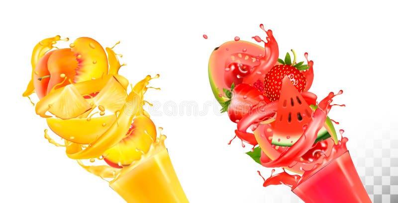 O fruto no suco espirra Vetor ilustração royalty free