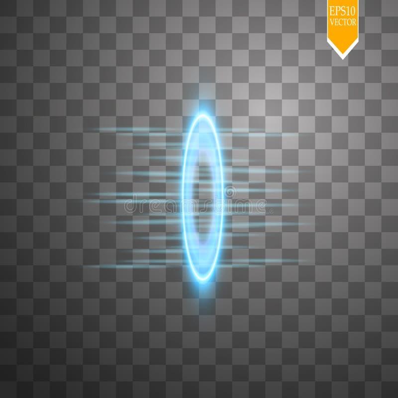 O fulgor azul redondo irradia a cena da noite com as faíscas no fundo transparente Mostre o partido Fase do feixe Portal mágico T ilustração do vetor