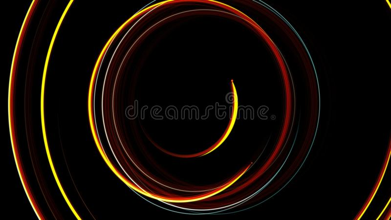 O fulgor de giro da espiral abstrata alinha, fundo gerado por computador, fundo da rendição 3D ilustração stock