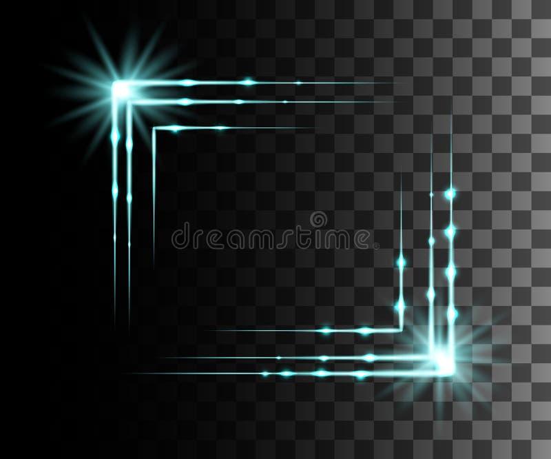 O fulgor isolou o efeito transparente azul, o alargamento da lente, a explosão, o brilho, a linha, o flash do sol, a faísca e as  ilustração royalty free