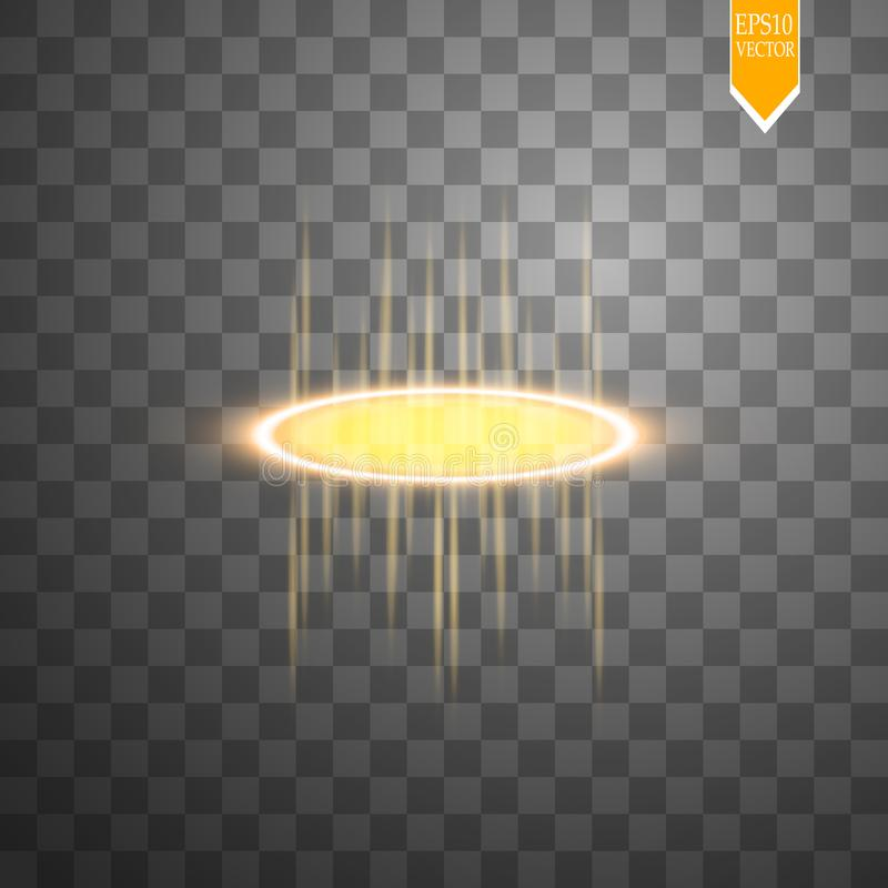 O fulgor redondo do ouro irradia a cena da noite com as faíscas no fundo transparente Mostre o partido Fase do feixe Portal mágic ilustração royalty free