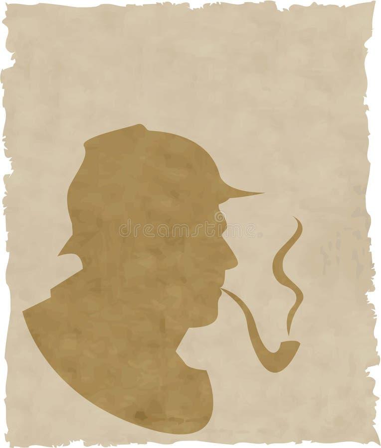 O fumador de tubulação da silhueta ilustração do vetor