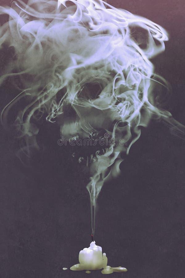 O fumo dado forma crânio sai da vela queimada ilustração stock