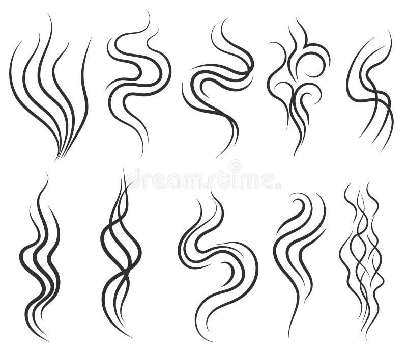 O fumo e o vapor cheiram linhas, ícone do gás, fluxo do aroma ilustração do vetor