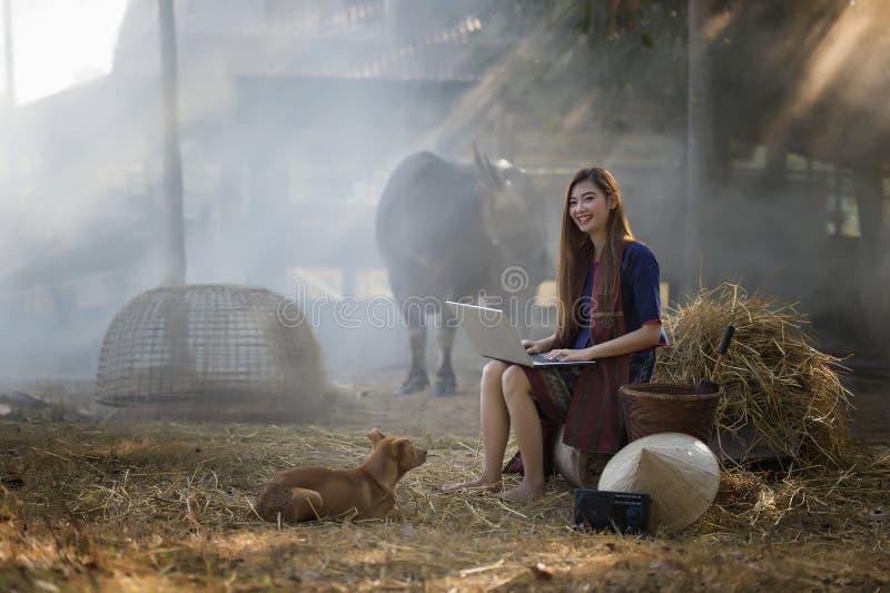 O funcionamento bonito da mulher de Tailândia está feliz, mulher de Tailândia, Tailândia, cultura de Tailândia, fazendeiro buauti imagens de stock