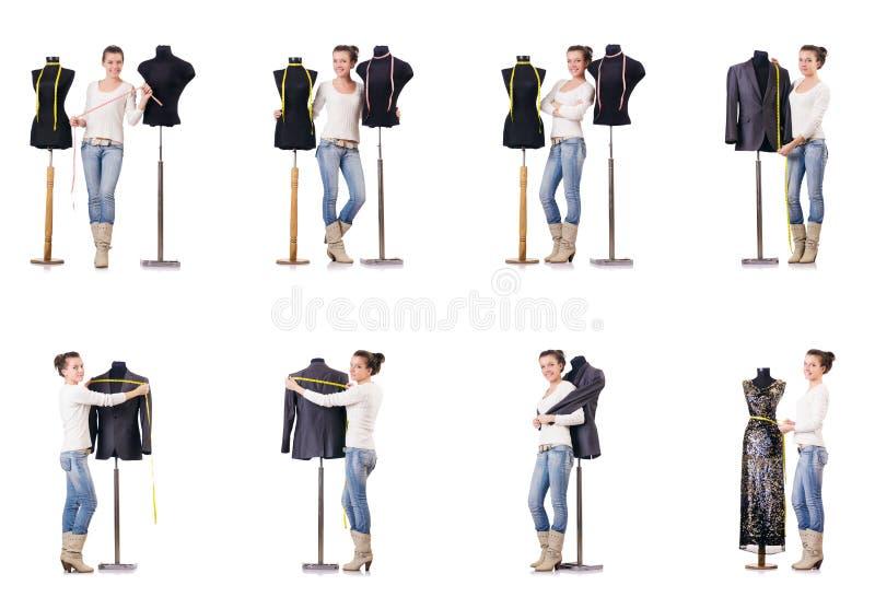 O funcionamento do alfaiate da mulher foto de stock