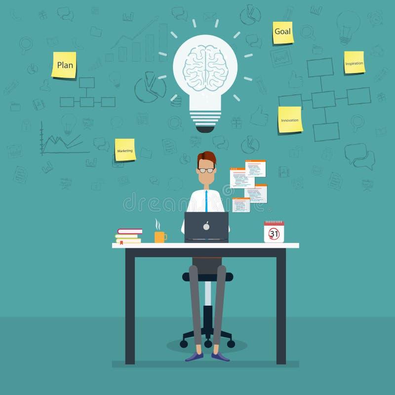 O funcionamento do negócio dos povos e o negócio criativo do planeamento projetam-se ilustração do vetor