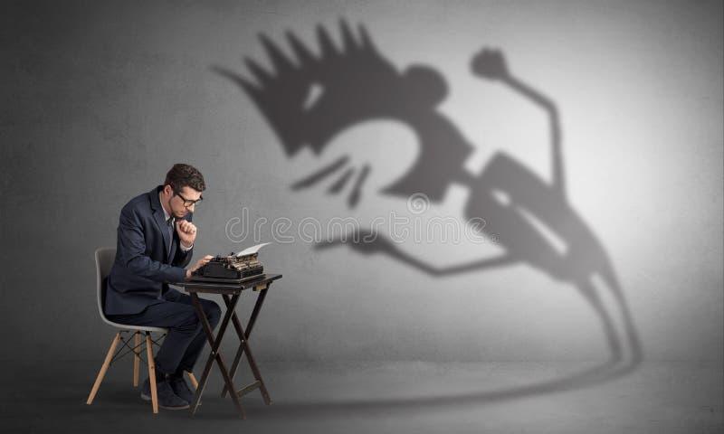 O funcionamento e do homem estão receosos de uma sombra gritando imagens de stock royalty free