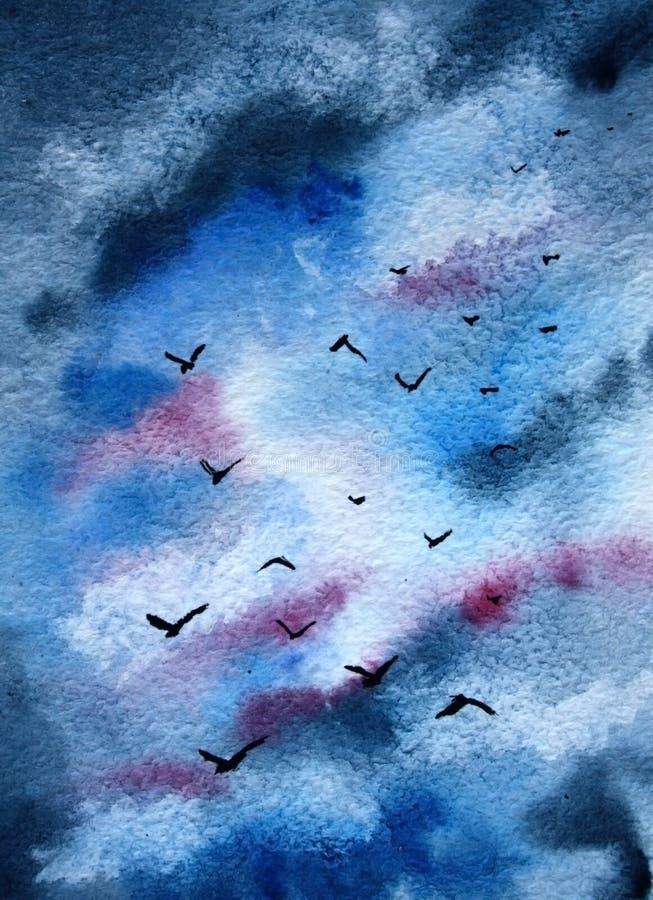 O fundo é o céu com pássaros ilustração royalty free