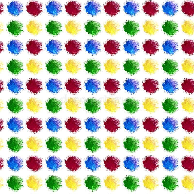 O fundo abstrato ? gotas multi-coloridas de uma aquarela espirra Os pontos encontram-se exatamente em seguido e colunas Azul verd ilustração do vetor