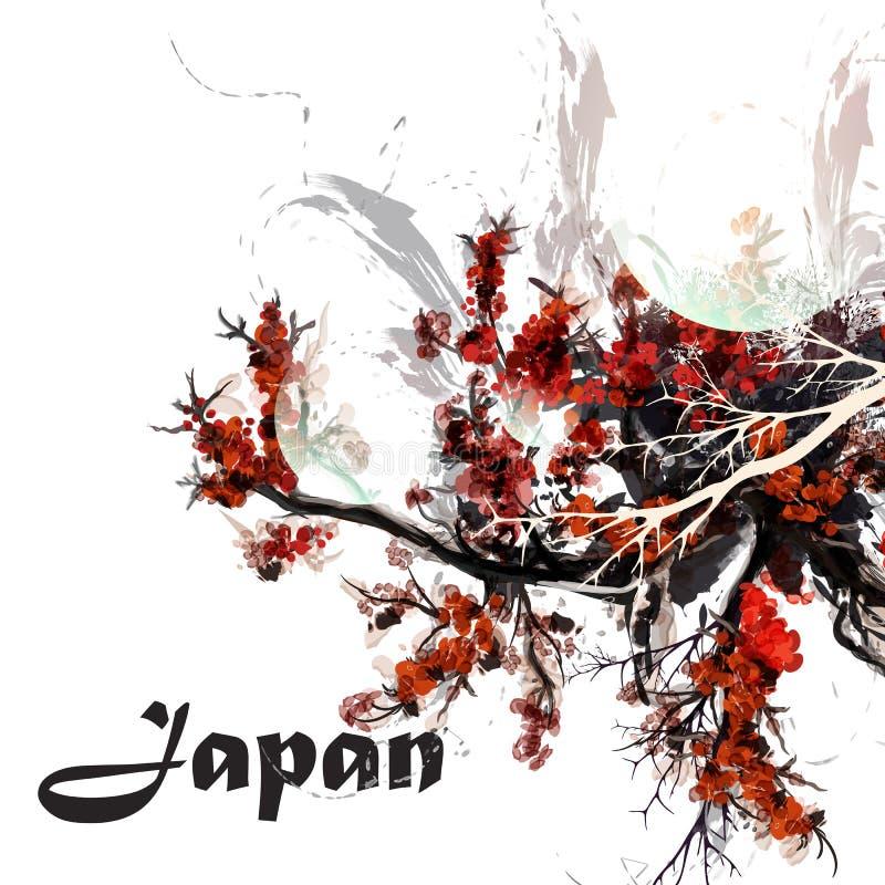 O fundo 2 abstrato com aquarela pintou ramos de árvore da cereja no estilo de Japão ilustração royalty free