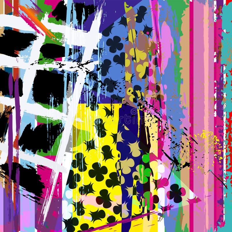 O fundo abstrato, com cursos, espirra, listras e triangl ilustração do vetor