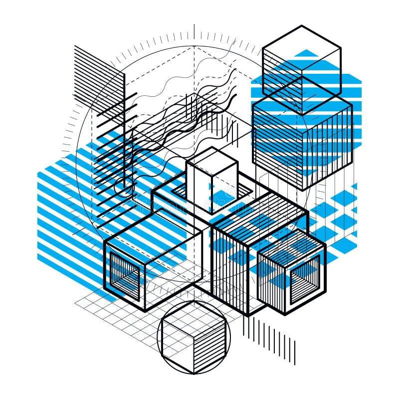 O fundo abstrato com elementos isométricos, vector a arte linear com linhas e formas Cubos, hexágonos, quadrados, retângulos e ilustração stock