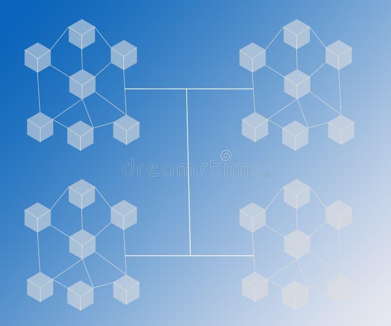 O fundo abstrato conectou blocos Bitcoin em inclinações azuis ilustração stock
