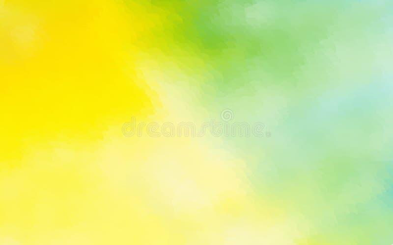 O fundo abstrato da aquarela do verde amarelo pontilhou o desig gráfico ilustração stock