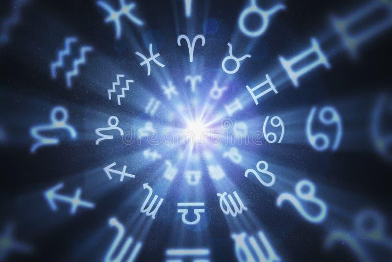 O fundo abstrato da astrologia com zodíaco assina dentro o círculo 3D rendeu a ilustração ilustração do vetor