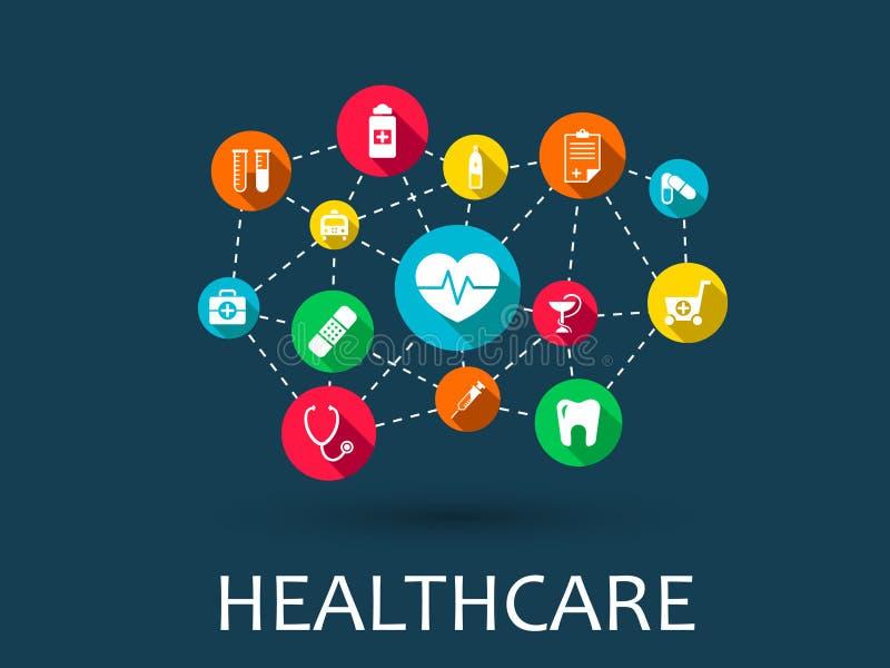 O fundo abstrato da medicina com linhas, círculos e integra ícones lisos Conceito médico, saúde de Infographic ilustração do vetor