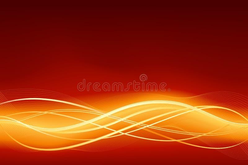 O fundo abstrato de incandescência da onda em vermelho flamejante vai ilustração royalty free