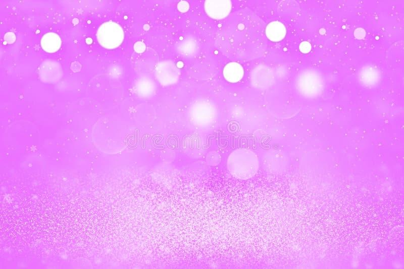 O fundo abstrato do bokeh defocused brilhante bonito cor-de-rosa das luzes do brilho com os flocos de queda da neve voa, textura  ilustração stock