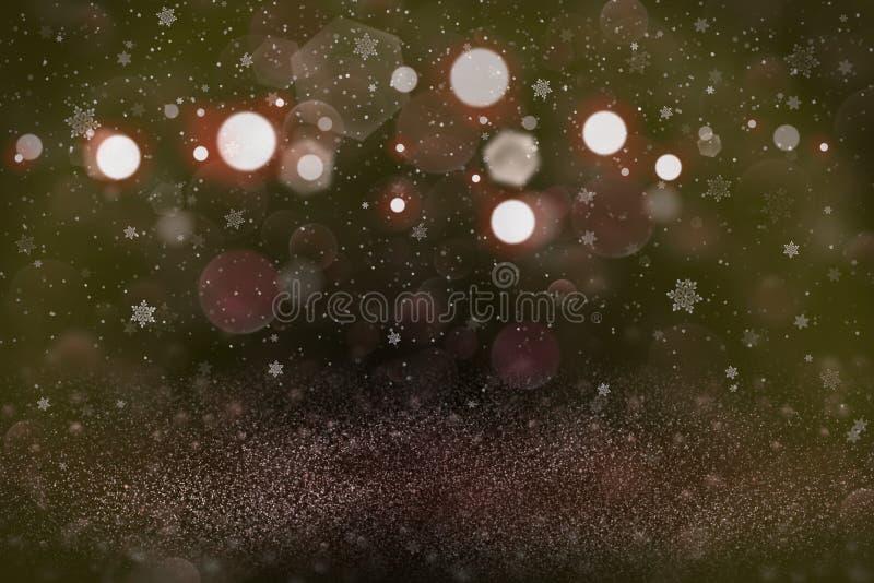 O fundo abstrato do bokeh defocused brilhante bonito das luzes do brilho com os flocos de queda da neve voa, textura festal do mo ilustração royalty free