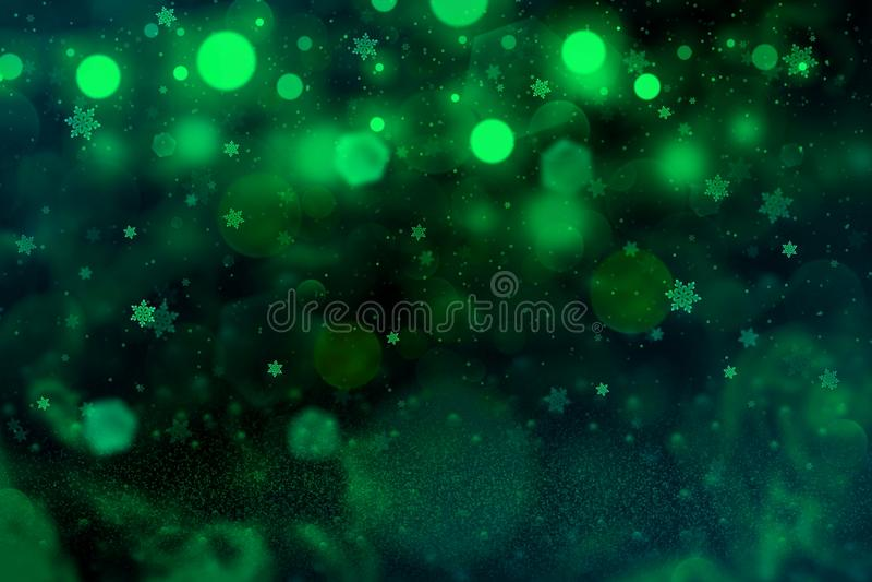 O fundo abstrato do bokeh defocused brilhante maravilhoso das luzes do brilho com os flocos de queda da neve voa, textura festal  ilustração do vetor