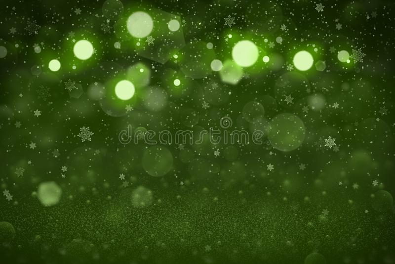 O fundo abstrato do bokeh defocused brilhante maravilhoso verde das luzes do brilho com os flocos de queda da neve voa, textura d ilustração stock