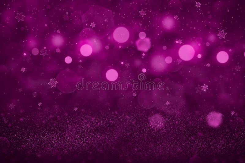 O fundo abstrato do bokeh defocused efervescente bonito cor-de-rosa das luzes do brilho com os flocos de queda da neve voa, textu ilustração stock