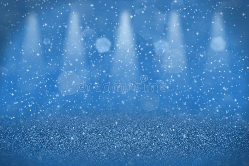 O fundo abstrato do bokeh defocused efervescente maravilhoso azul dos projetores da fase das luzes do brilho com faíscas voa, mod ilustração do vetor