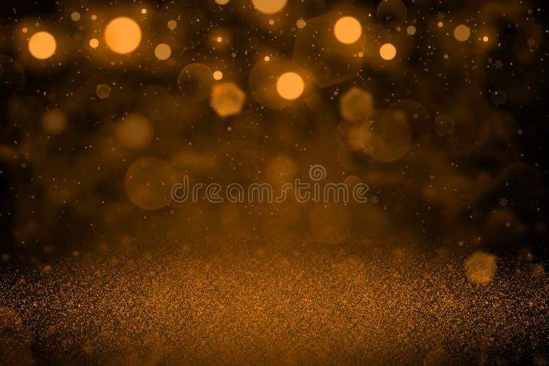 O fundo abstrato do bokeh defocused lustroso maravilhoso alaranjado das luzes do brilho com os flocos de queda da neve voa, textu ilustração stock
