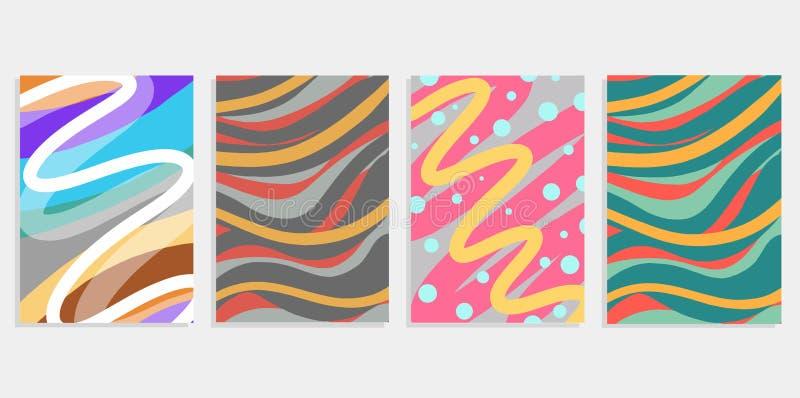 O fundo abstrato do grupo mínimo cobre o projeto Inclinações de intervalo mínimo coloridos Testes padrões geométricos futuros Ilu ilustração stock
