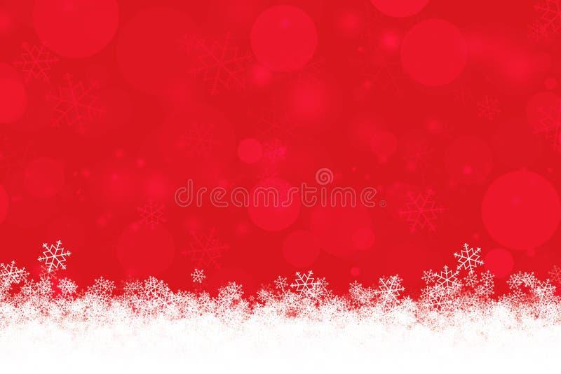 O fundo abstrato do Xmas do vermelho com flocos de neve e o bokeh iluminam-se ilustração do vetor