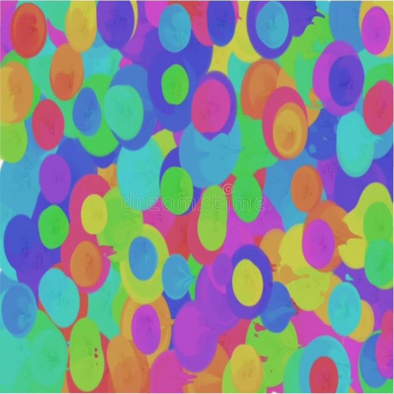 O fundo abstrato dos círculos e das manchas vermelhos e verdes, o azul e o amarelo derramaram a pintura de fluxo ilustração do vetor