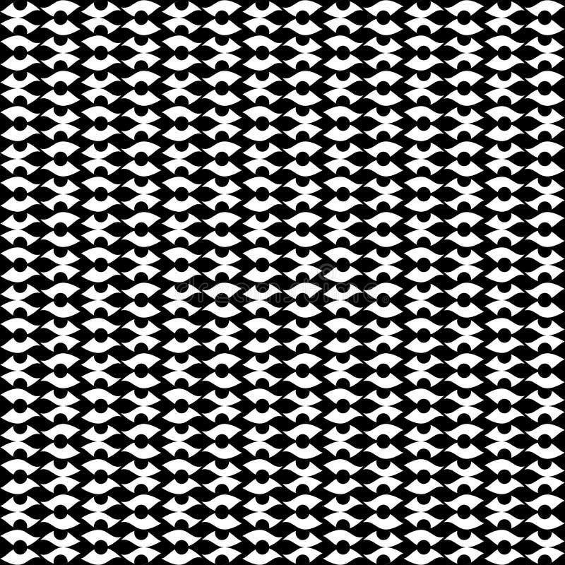O fundo abstrato preto e branco do vetor e o teste padrão sem emenda da repetição projetam ilustração royalty free