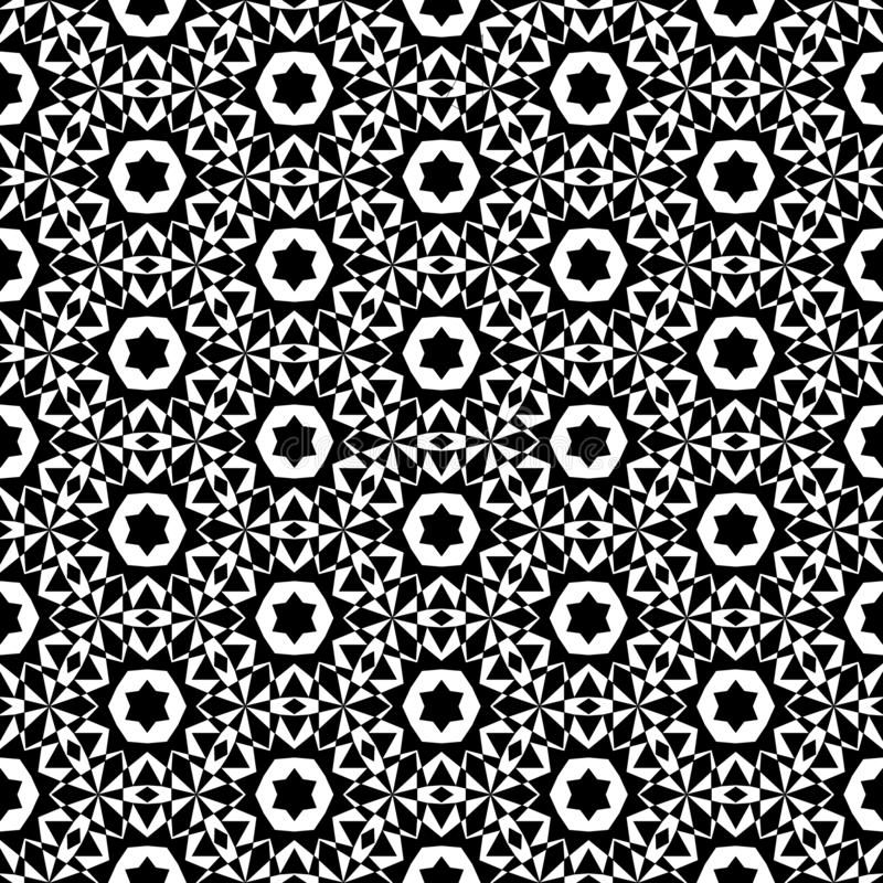 O fundo abstrato preto e branco do vetor e o teste padrão sem emenda da repetição projetam ilustração do vetor
