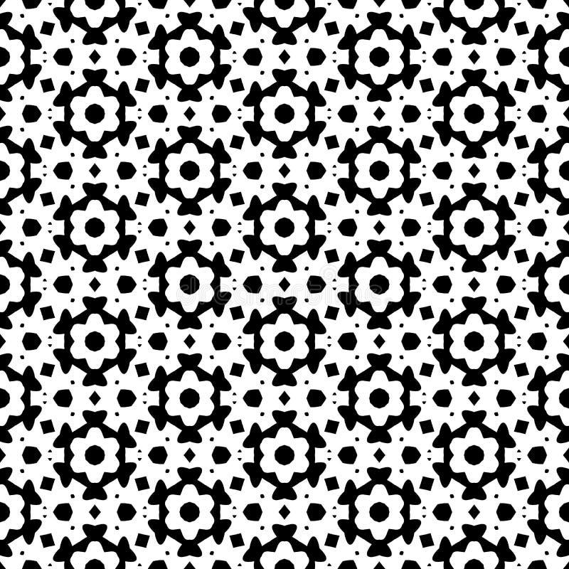 O fundo abstrato preto e branco do vetor e o teste padrão sem emenda da repetição projetam ilustração stock